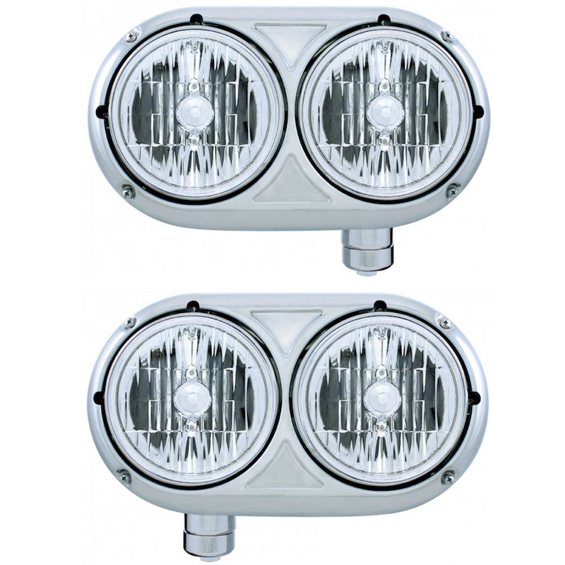 Peterbilt 359 Style Stainless Dual Round Headlight Both Sides Off