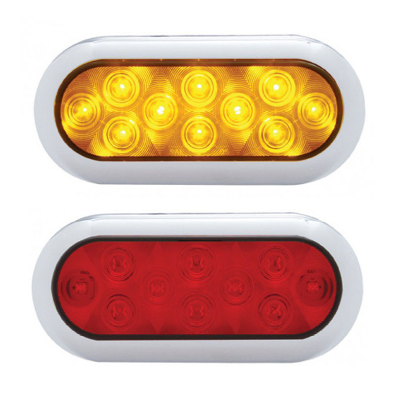 10 LED Oval STT And PTC Light With Chrome Bezel Red Lens Amber Lens Red LED Amber LED