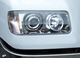 Freightliner FLD 120 112 Projector Headlights On Truck Close Up