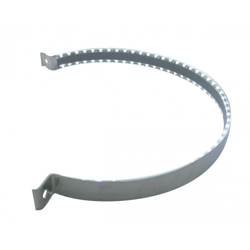 """Peterbilt 15"""" Stainless Steel White LED Air Cleaner Strap Kit"""