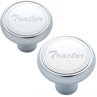 "Deluxe Air Valve Knobs-Stainless Plaque With Cursive Script  ""Tractor"" & ""Trailer"""