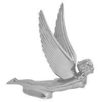 Chrome Flying Goddess With Vertical Wings Hood Ornament Facing Right