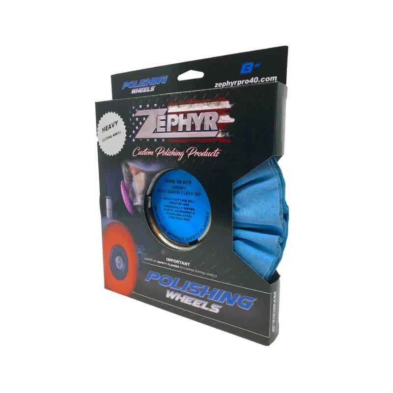 "Zephyr Blue Baron Clear Dip Heavy Cutting Airway Buffing Wheel 8"" Diameter Package"