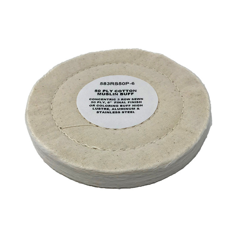 "Zephyr 6"" Cotton Muslin 50ply Final Finish Buffing Wheel"