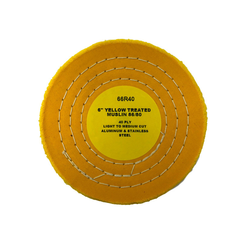 Zephyr Yellow Treated Muslin 40ply 86/80 Light Medium Cut Buffing Wheel Circle