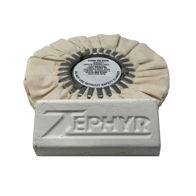 """Zephyr White 8"""" Airway Buff With White Bar Rouge"""