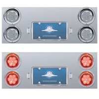 "Stainless Steel Rear Center Panel With 4"" Round LEDs & License LED"