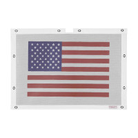 Peterbilt 379 White Belmor Bug Screen With Traditional American Flag