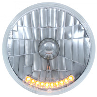 "7"" Round Crystal Headlight With Amber LED Strip"