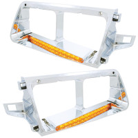 14 LED Freightliner FLD Headlight Bezel - Amber LED/Amber Lens