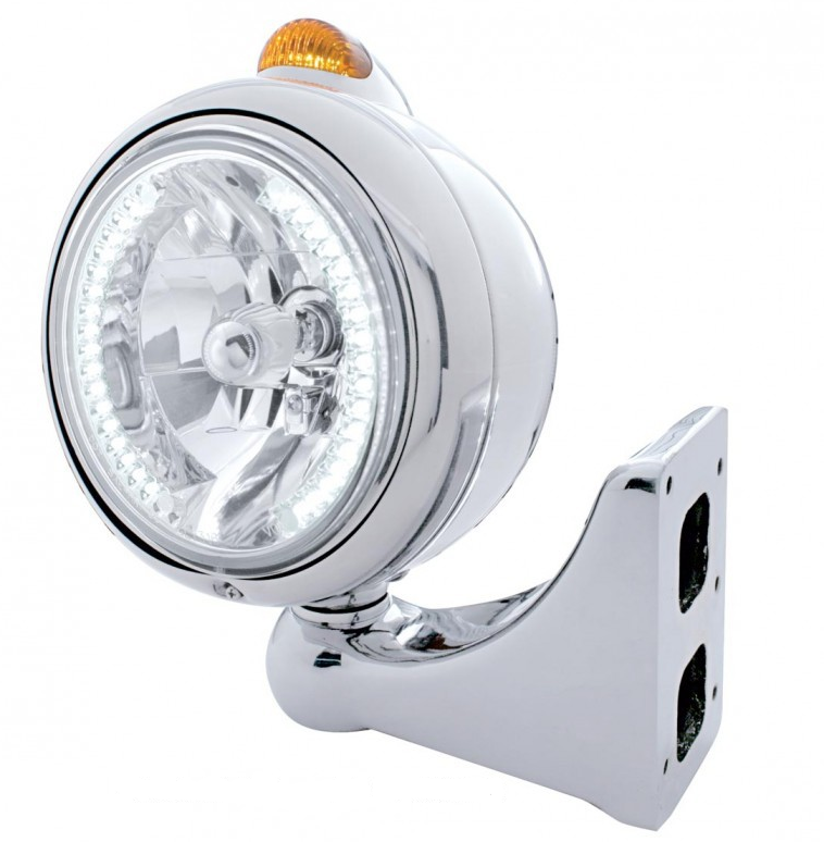 Chrome Guide Headlight H4 Bulb With White LED
