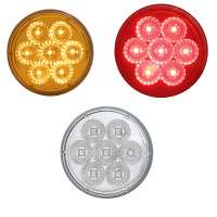 "7 LED 4"" Round Stop Tail Turn and PTC Lights with Reflector"
