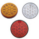 "19 LED 4"" Round Stop Tail Turn and PTC Lights with Reflector Honeycomb Style"