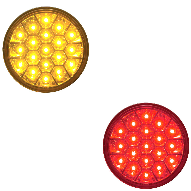 "19 LED 4"" Round Stop Tail Turn and PTC Lights with Reflector Honeycomb Style - On"