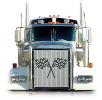 Peterbilt 379 Extended Hood 1995+ Race Flag Bug Screen