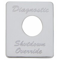 Peterbilt Stainless Steel Diagnostic Shutdown Override Switch Plate