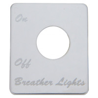Peterbilt Stainless Steel Breather Light Switch Plate