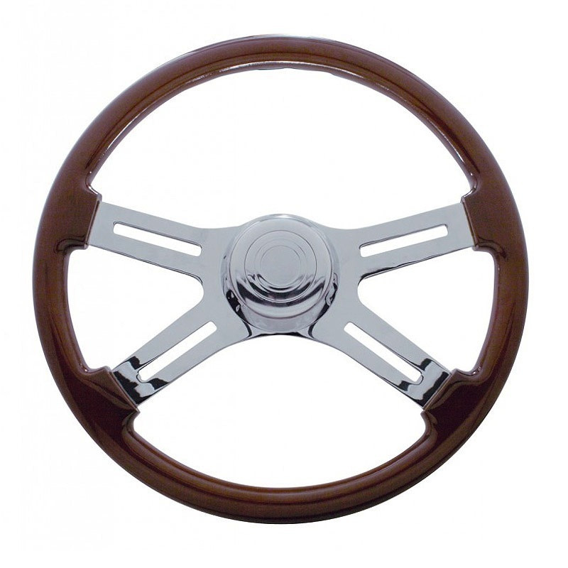 "18"" Mahogany 4 Chrome Spoke Steering Wheel"