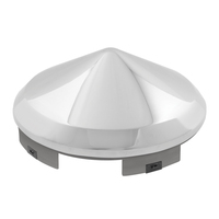 "Chrome Plated Cone Shape Universal Front Hub Cap 1"" Lip"