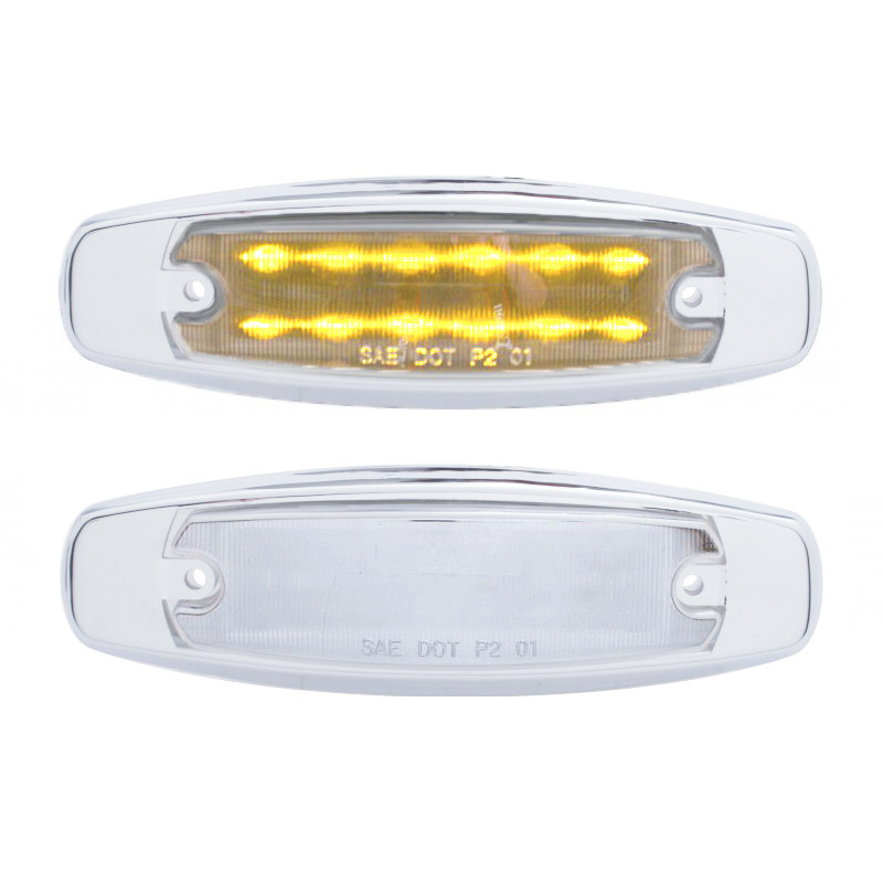 Pete Style Rectangular Clearance Marker Light With Chrome Lens - Amber