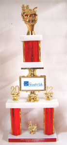 Shown With Chili Cook-Off Figure, Red Column, 20 Left Side Gold Trim & 12 Right Side Gold Trim, 1st Place Base Gold Trim, and Red Engraving Plate With Silver Text