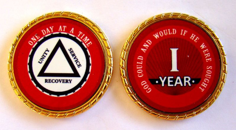 """Skulls and Bones Rope Edge Sobriety Coin Chip 1 3//4/"""" Alcoholics Anonymous 10 Yr"""