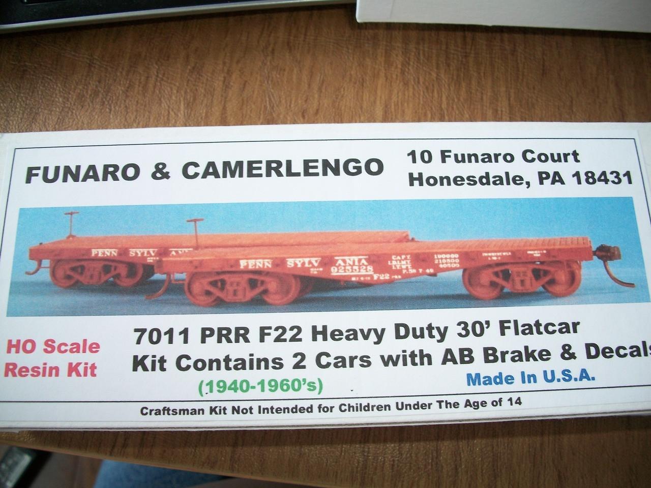 Funaro HO Scale Kit #7011 Pennsylvania PRR F22 Heavy Duty 30