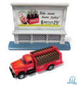 Classic Metal Works - HO Scale 1954 Ford Bottle Delivery Truck with 1950s Billboard - Assembled -- Coca-Cola  #40004