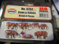 Model Power HO Scale Painted Cows and Calves Brown 6 pieces 5732