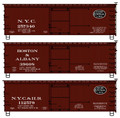 Accurail HO Scale 36' Double Sheath Wood Boxcar w/Steel Ends, Fishbelly Underframe  NYC, B&A, NYC Hudson 3 pack