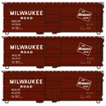 Accurail HO Scale Milwakee Road Rib Side Box Car 3 pack  #8124