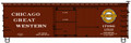 Accurail HO Scale 36' Double Sheath Wood Boxcar w/Steel Ends, Fishbelly Underframe  Chicago Great Western CGW 17086