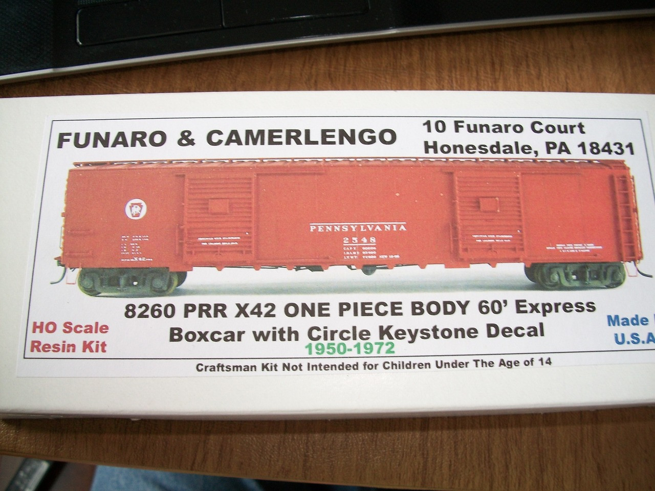 Funaro HO Scale Kit #8260 Pennsylvania PRR X42 60ft Express