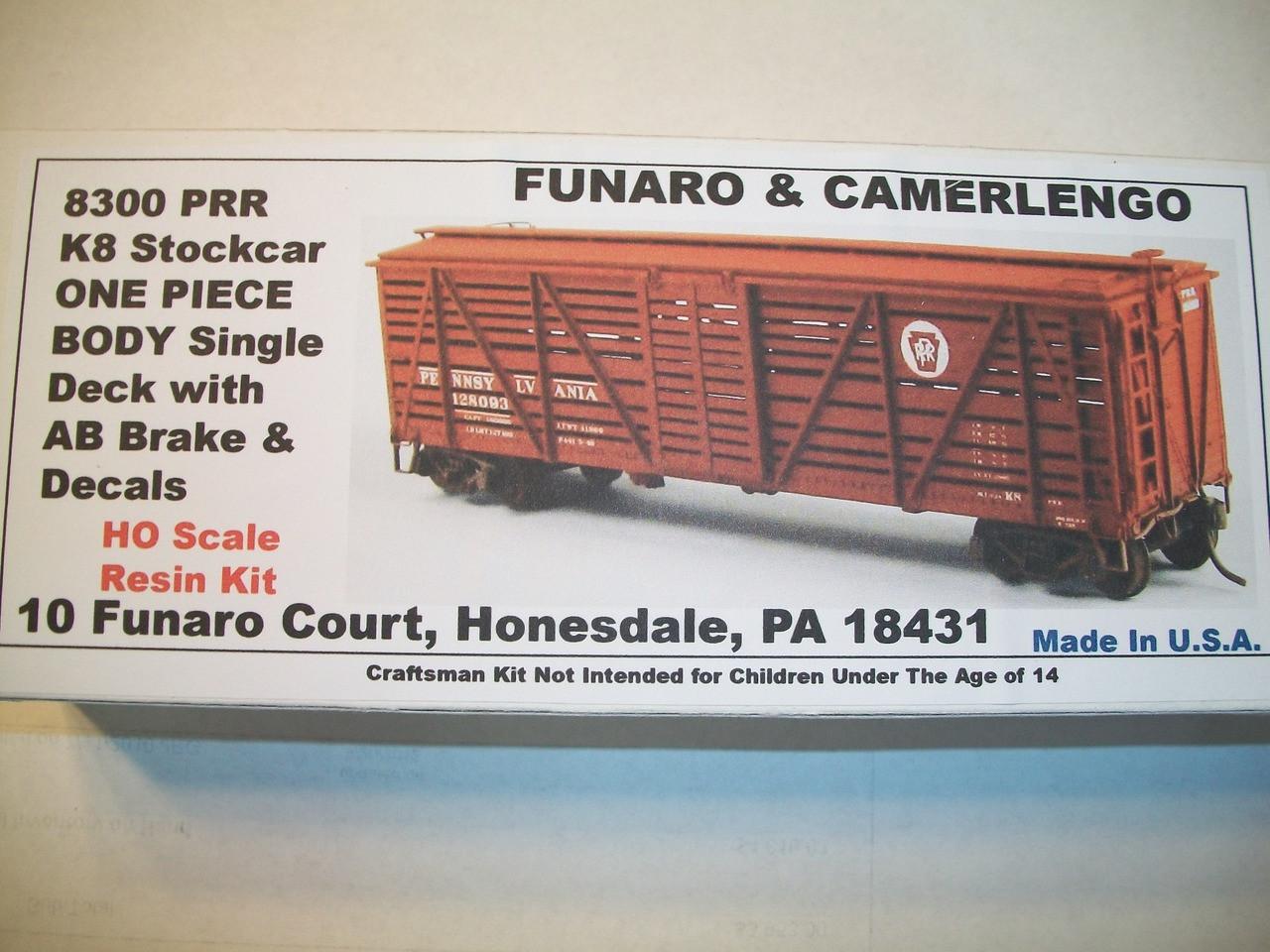 Funaro HO Scale Kit #8300 Pennsylvania PRR K8 Stcok Car
