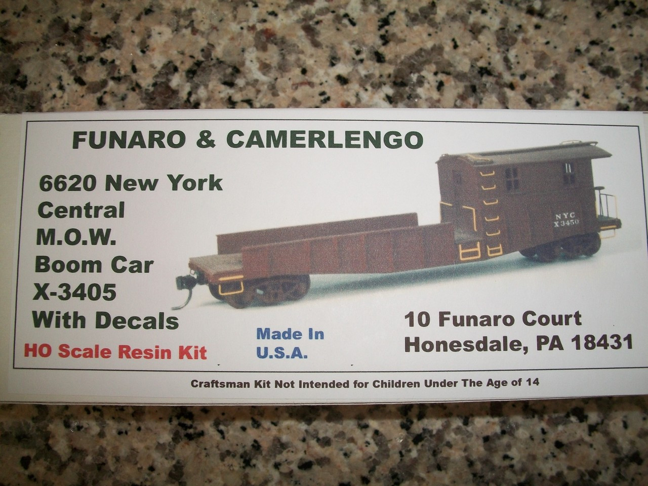 Funaro HO Scale Kit #6620 New York Central MOW Boom Car X-3405 KIT