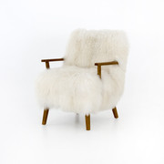 Mongolian Fur and Oak Arm Chair