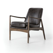 Wood Frame Leather Accent Chair