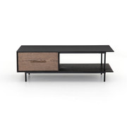 Two-tone oak coffee table with drawers