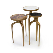 Brass and stone end tables