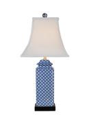 Blue & White Lattice Porcelain Table Lamp