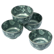 Antique Green Gingko Bowl Set