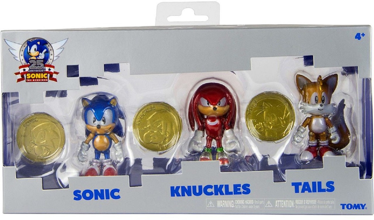 "Sonic 25 Anniversary 2.5"" Plastic Action Figure W Coins Sonic, Knuckles, Tails"
