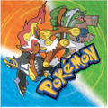 Pokemon Small Beverage Napkins - Orange, Blue, Green