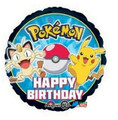"Pokemon 18"" Round Foil Helium Metallic Balloon  - ""Happy Birthday"""
