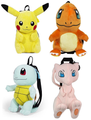 Pokemon Plush Backpack Pack Of 4 - Pikachu, Charmander, Squirtle, Mew