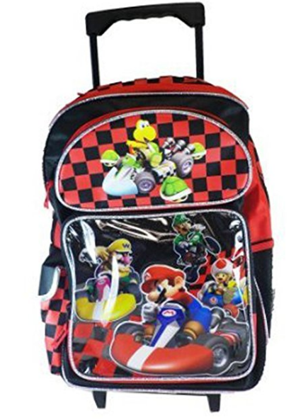 """Mario Brothers Large 16"""" Rolling Backpack  - Red Black Checkers"""