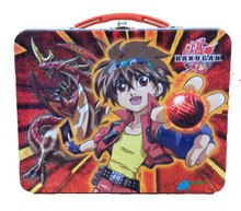 Bakugan Square Carry All Tin Stationery Lunch Box Lunchbox - Orange
