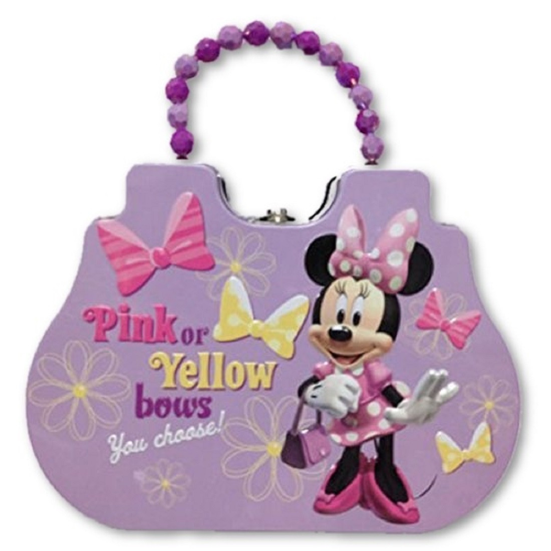 Minnie Mouse Beaded Clutch Tin Purse or Small Lunch Box - Purple