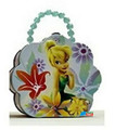 Tinkerbell Tin Box Carry All Flower Shaped Purse with Beaded Handle - Blue