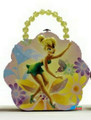 Tinkerbell Tin Box Carry All Flower Shaped Purse with Beaded Handle - Yellow